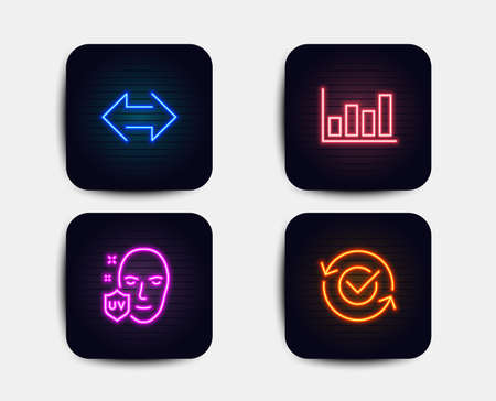 Neon glow lights. Set of Sync, Report diagram and Uv protection icons. Approved sign. Synchronize, Financial market, Ultraviolet. Refresh symbol.  Neon icons. Glowing light banners. Vector