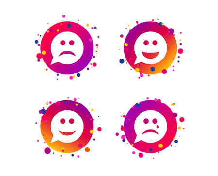 Speech bubble smile face icons. Happy, sad, cry signs. Happy smiley chat symbol. Sadness depression and crying signs. Gradient circle buttons with icons. Random dots design. Vector Illusztráció