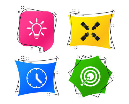 Lamp idea and clock time icons. Target aim sign. Darts board with arrow. Teamwork symbol. Geometric colorful tags. Banners with flat icons. Trendy design. Vector
