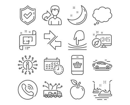 Set of Synchronize, Comic message and Bumper cars icons. Architectural plan, Elastic and Calendar signs. Truck delivery, Car and Smartphone buying symbols. Vector