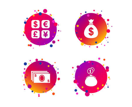 Currency exchange icon. Cash money bag and wallet with coins signs. Dollar, euro, pound, yen symbols. Gradient circle buttons with icons. Random dots design. Vector  イラスト・ベクター素材
