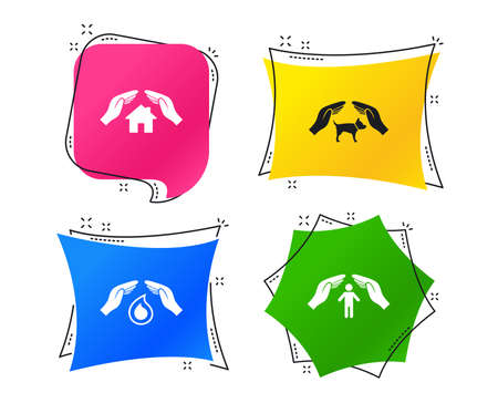 Hands insurance icons. Shelter for pets dogs symbol. Save water drop symbol. House property insurance sign. Geometric colorful tags. Banners with flat icons. Trendy design. Vector