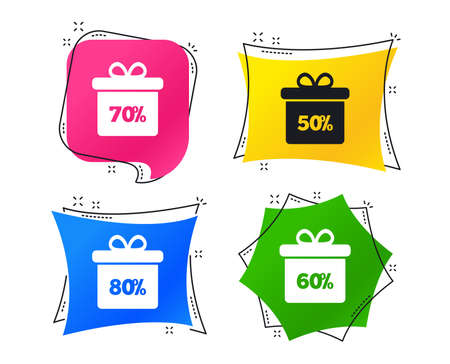 Sale gift box tag icons. Discount special offer symbols. 50%, 60%, 70% and 80% percent discount signs. Geometric colorful tags. Banners with flat icons. Trendy design. Vector