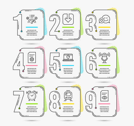 Infographic template with numbers 9 options. Set of Web love, Dating and File settings icons. Train, Correct answer and Load document signs. Microphone, Alarm clock and View document symbols. Vector Ilustração