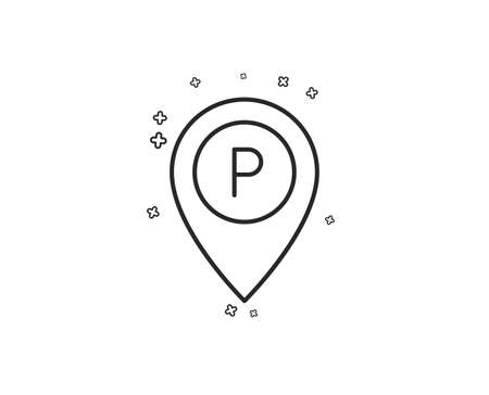 Parking line icon. Location map pointer sign. Car park symbol. Geometric shapes. Random cross elements. Linear Parking icon design. Vector Foto de archivo - 124744796