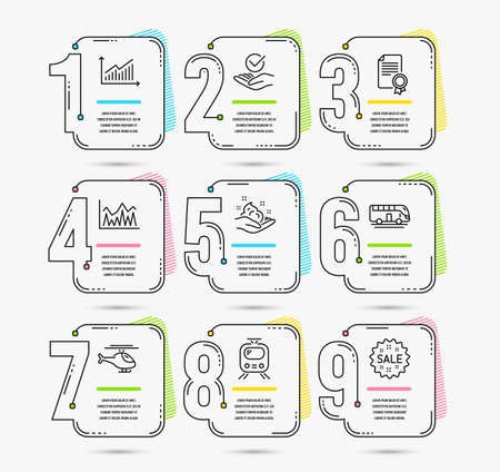 Infographic template with numbers 9 options. Set of Investment, Bus tour and Certificate icons. Graph, Approved and Skin care signs. Helicopter, Train and Sale symbols. Vector