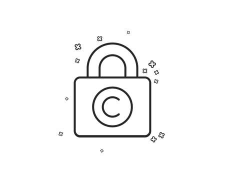 Copyright locker line icon. Copywriting sign. Private Information symbol. Geometric shapes. Random cross elements. Linear Copyright locker icon design. Vector Banco de Imagens - 124744800