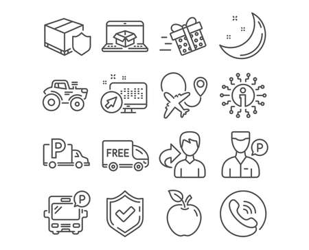 Set of Bus parking, Free delivery and Airplane icons. Present delivery, Valet servant and Truck parking signs. Tractor symbol. Public park, Shopping truck, Plane. Vector Illustration
