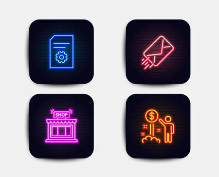 Neon glow lights. Set of E-mail, File settings and Shop icons. Income money sign. Mail delivery, File management, Store. Wealth.  Neon icons. Glowing light banners. Vector Vettoriali