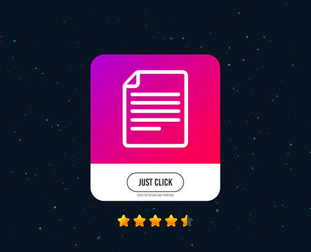 File document icon. Download doc button. Doc file symbol. Web or internet icon design. Rating stars. Just click button. Vector Stok Fotoğraf - 124744804