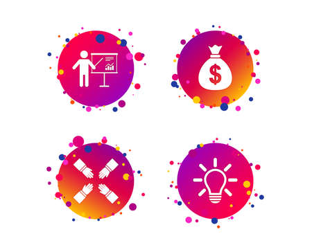 Presentation billboard icon. Dollar cash money and lamp idea signs. Man standing with pointer. Teamwork symbol. Gradient circle buttons with icons. Random dots design. Vector Illustration