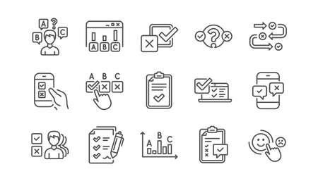 Survey or Report line icons. Opinion, Customer satisfaction and Feedback results. Testing linear icon set.  Vector