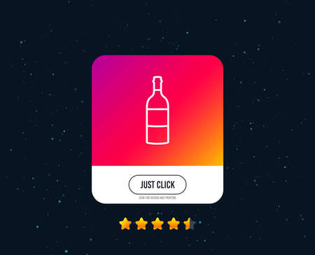 Wine bottle line icon. Merlot or Cabernet Sauvignon sign. Web or internet line icon design. Rating stars. Just click button. Vector Standard-Bild - 124744812