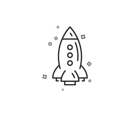 Rocket line icon. Spaceship transport sign. Aircraft symbol. Geometric shapes. Random cross elements. Linear Rocket icon design. Vector Illustration