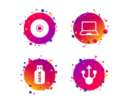 Usb flash drive icons. Notebook or Laptop pc symbols. CD or DVD sign. Compact disc. Gradient circle buttons with icons. Random dots design. Vector  イラスト・ベクター素材