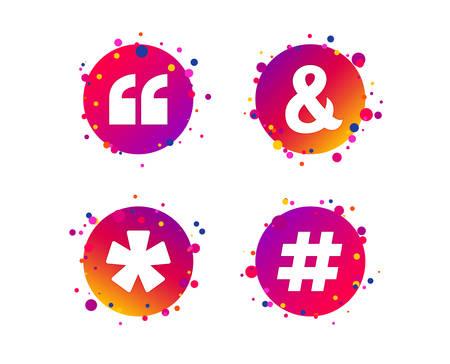 Citation, icônes de note de bas de page. Hashtag médias sociaux et symboles esperluette. Opérateur logique de programmation et signe. Boutons de cercle dégradé avec des icônes. Conception de points aléatoires. Vecteur