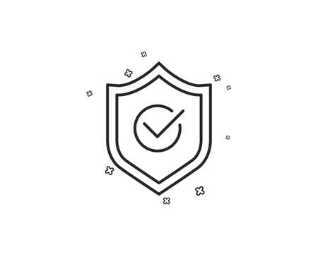 Approved shield line icon. Accepted or confirmed sign. Protection symbol. Geometric shapes. Random cross elements. Linear Approved shield icon design. Vector