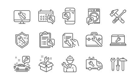 Repair line icons. Hammer, Screwdriver and Spanner tool. Washing machine repair linear icon set.  Vector