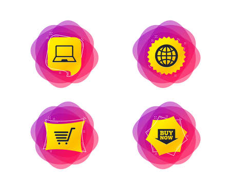 Online shopping icons. Notebook pc, shopping cart, buy now arrow and internet signs. WWW globe symbol. Geometric gradient sales shapes. Creative banners. Template for design. Vector  イラスト・ベクター素材
