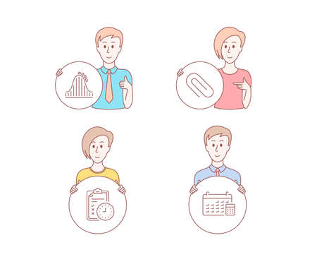 People hand drawn style. Set of Exam time, Roller coaster and Paper clip icons. Calendar sign. Checklist, Attraction park, Attach paperclip. Calculator device.  Character hold circle button. Vector
