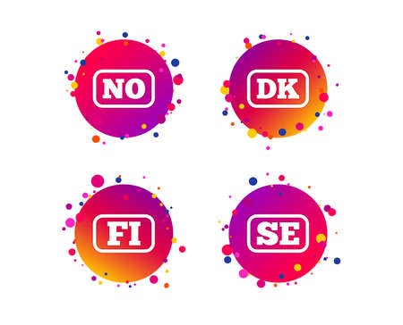 Language icons. FI, DK, SE and NO translation symbols. Finland, Denmark, Sweden and Norwegian languages. Gradient circle buttons with icons. Random dots design. Vector