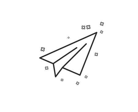 Paper plane line icon. Airplane flight transport sign. Share symbol. Geometric shapes. Random cross elements. Linear Paper plane icon design. Vector  イラスト・ベクター素材