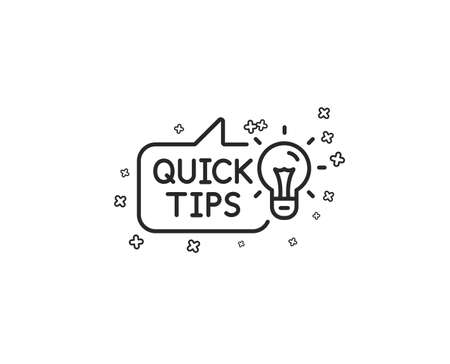 Quick tips line icon. Helpful tricks sign. Tutorials with idea symbol. Geometric shapes. Random cross elements. Linear Education idea icon design. Vector