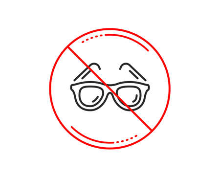 No or stop sign. Travel sunglasses line icon. Trip sun glasses sign. Holidays symbol. Caution prohibited ban stop symbol. No  icon design.  Vector Çizim