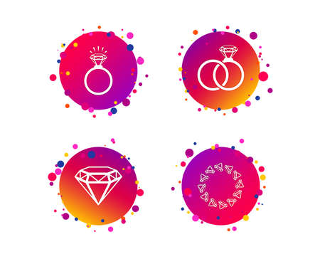 Rings icons. Jewelry with shine diamond signs. Wedding or engagement symbols. Gradient circle buttons with icons. Random dots design. Vector Stock Vector - 124744839