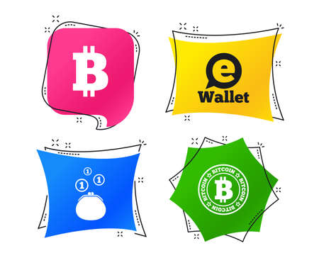 Bitcoin icons. Electronic wallet sign. Cash money symbol. Geometric colorful tags. Banners with flat icons. Trendy design. Vector Illustration