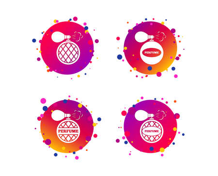 Perfume bottle icons. Glamour fragrance sign symbols. Gradient circle buttons with icons. Random dots design. Vector Ilustracja