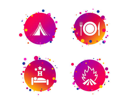 Food, sleep, camping tent and fire icons. Knife, fork and dish. Hotel or bed and breakfast. Road signs. Gradient circle buttons with icons. Random dots design. Vector