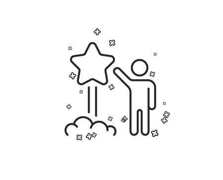 Launch star line icon. Feedback rating sign. Customer satisfaction symbol. Geometric shapes. Random cross elements. Linear Star icon design. Vector