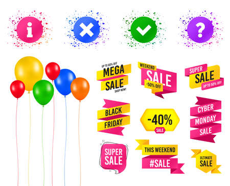 Balloons party. Sales banners. Information icons. Delete and question FAQ mark signs. Approved check mark symbol. Birthday event. Trendy design. Vector