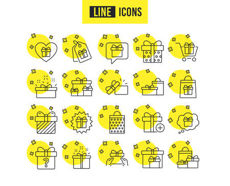 Gifts line icons. Set of Present box, Offer and Sale signs. Shopping cart, Tags and Chat symbols. Speech bubble, Give a gift and Question mark. Quality futuro design icons. Editable stroke. Vector