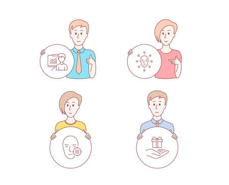 People hand drawn style. Set of Presentation, Problem skin and Face biometrics icons. Loyalty program sign. Education board, Facial care, Facial recognition. Gift.  Character hold circle button