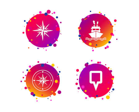 Windrose navigation compass icons. Shipping delivery sign. Location map pointer symbol. Gradient circle buttons with icons. Random dots design. Vector Standard-Bild - 124744860
