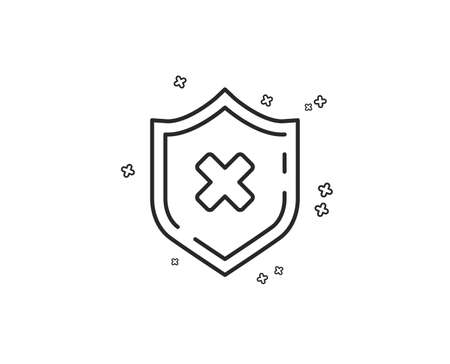 Reject protection line icon. Decline shield sign. No security. Geometric shapes. Random cross elements. Linear Reject protection icon design. Vector Illustration