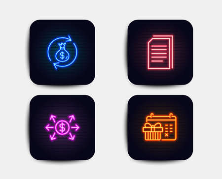 Neon set of Dollar exchange, Copy files and Money exchange icons. Christmas calendar sign. Payment, Copying documents, Cash in bag. Presents day. Neon icons. Glowing light banners