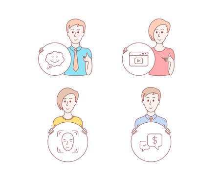 People hand drawn style. Set of Video content, Face detection and Speech bubble icons. Payment received sign. Browser window, Detect person, Comic chat. Money.  Character hold circle button. Vector