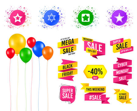 Balloons party. Sales banners. Star of David icons. Sheriff police sign. Symbol of Israel. Birthday event. Trendy design. Vector Imagens - 118082884