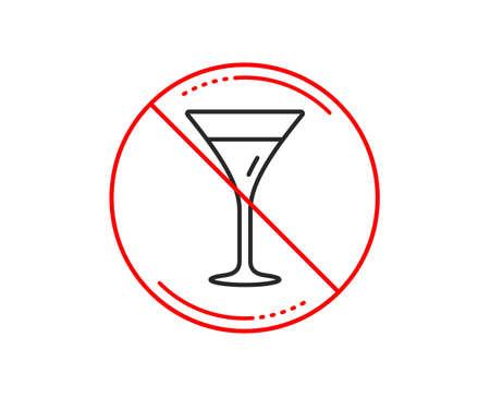 No or stop sign. Martini glass line icon. Wine glass sign. Caution prohibited ban stop symbol. No  icon design.  Vector  イラスト・ベクター素材
