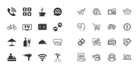 Set of Hotel services icons. Phone call, Wifi internet and Currency exchange signs. Coffee, Wine bottle and Air conditioning symbols. Paper plane, report and shopping cart icons. Group of people Illustration