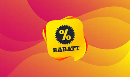 Rabatt - Discounts in German sign icon. Star with percentage symbol. Wave background. Abstract shopping banner. Template for design. Vector Standard-Bild - 124744877