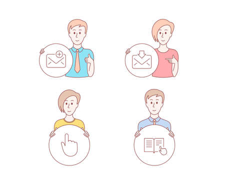 People hand drawn style. Set of Incoming mail, New mail and Hand click icons. Read instruction sign. Download message, Add e-mail, Location pointer. Opened book.  Character hold circle button. Vector