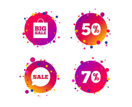 Sale speech bubble icon. 50% and 70% percent discount symbols. Big sale shopping bag sign. Gradient circle buttons with icons. Random dots design. Vector