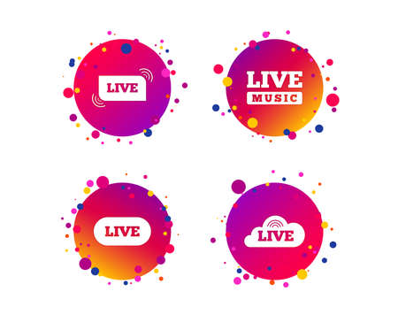 Live music icons. Karaoke or On air stream symbols. Cloud sign. Gradient circle buttons with icons. Random dots design. Vector