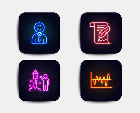 Neon set of Copyrighter, Feather and Fireworks icons. Stock analysis sign. Writer person, Copyright page, Party pyrotechnic. Business trade. Neon icons. Glowing light banners. Vector