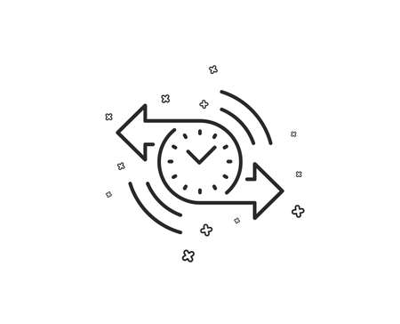 Timer line icon. Time or clock sign. Geometric shapes. Random cross elements. Linear Timer icon design. Vector
