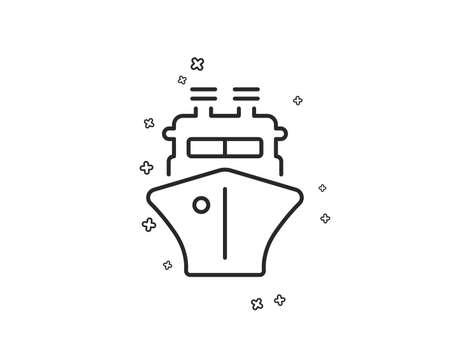 Ship line icon. Watercraft transport sign. Shipping symbol. Geometric shapes. Random cross elements. Linear Ship icon design. Vector 일러스트